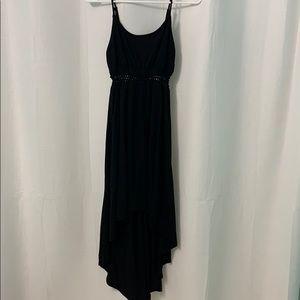 Black Hi-Low Dress with midriff derailing